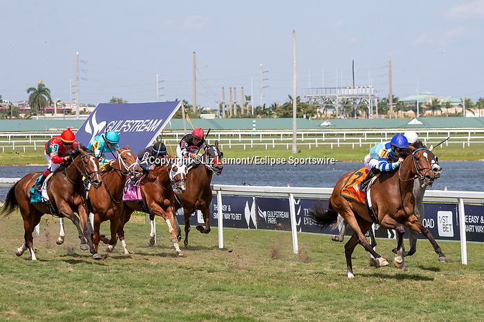 February 29, 2020: #7 Getmotherarose with jockey Junior Alvarado on board, wins the Honey Fox Stakes G3 on February 29th, 2020 at Gulfstream Park in Hallandale Beach, Florida. LizLamont/Eclipse Sportswire/CSM