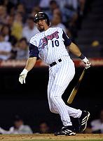 Benji Gil of the Anaheim Angels during a 2001 season MLB game at Angel Stadium in Anaheim, California. (Larry Goren/Four Seam Images)