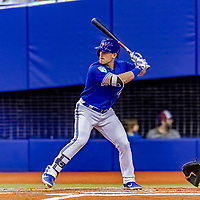 25 March 2019: Toronto Blue Jays outfielder Billy McKinney at bat during an exhibition game against the Milwaukee Brewers at Olympic Stadium in Montreal, Quebec, Canada. The Brewers defeated the Blue Jays 10-5 in the first of two MLB pre-season games in the former home of the Montreal Expos. Mandatory Credit: Ed Wolfstein Photo *** RAW (NEF) Image File Available ***