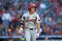 Robert Moore (1) of the Arkansas Razorbacks hustles down the first base line against the Oklahoma Sooners in game two of the 2020 Shriners Hospitals for Children College Classic at Minute Maid Park on February 28, 2020 in Houston, Texas. The Sooners defeated the Razorbacks 6-3. (Brian Westerholt/Four Seam Images)