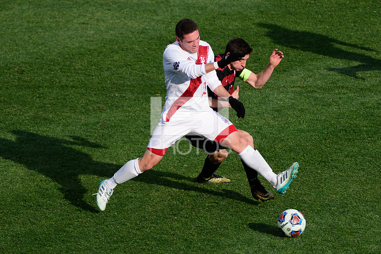 Chester, PA - Sunday December 10, 2017: Francesco Moore, Drew Skundrich. Stanford University defeated Indiana University 1-0 in double overtime during the NCAA 2017 Men's College Cup championship match at Talen Energy Stadium.