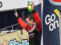 Feb. 17, 2013; Pomona, CA, USA; NHRA top fuel dragster driver Clay Millican during the Winternationals at Auto Club Raceway at Pomona. Mandatory Credit: Mark J. Rebilas-