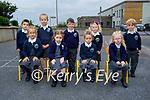Junior infants in Aine De Londra's class in Scoil Naomh Eirc in Dingle on Tuesday. <br /> Seated l to r: Vilte Gusiatnikovaite, Dearbhla Ní Mhathúna, Robyn Ruiseal Ní Nuanain and Heidi Hutchenson. Back l to r: Jeaic Ó Dubháin, Molly Nic Gearailt, Samuel Ó Murchú, Kailey Bacaoir and Milo Smallwood