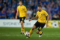 SYDNEY, AUSTRALIA - JULY 31, 2010: Makos Grigoris of AEK Athens kicks the ball during the match between AEK Athens FC and Glasgow Rangers at the 2010 Sydney Festival of Football held at the Sydney Football Stadium on July 31, 2010 in Sydney, Australia. (Photo by Sydney Low / www.syd-low.com)