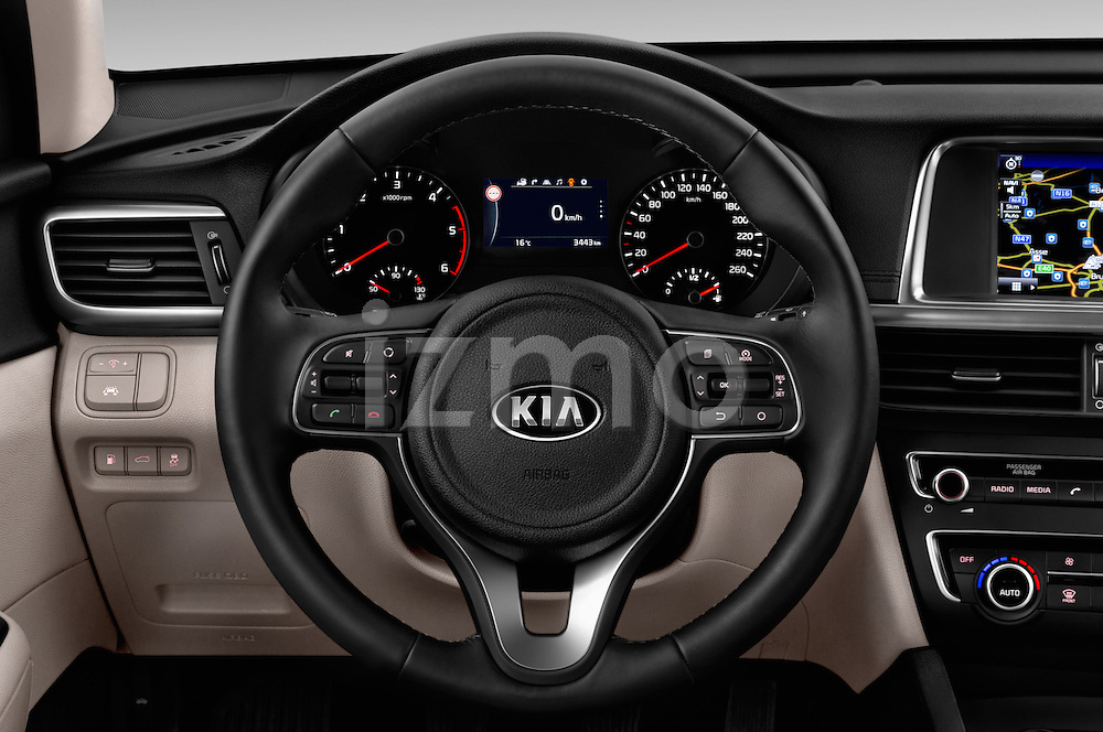 Car pictures of steering wheel view of a 2016 KIA Optima Sense 4 Door Sedan Steering Wheel