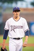 Northwest Arkansas Naturals pitcher Conner Greene (21) walks back to the dugout Wednesday, May 1, 2019, at Arvest Ballpark in Springdale, Arkansas. (Jason Ivester/Four Seam Images)