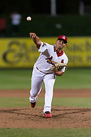 Springfield Cardinals relief pitcher Roel Ramirez (28) during a Texas League game against the Amarillo Sod Poodles on April 25, 2019 at Hammons Field in Springfield, Missouri. Springfield defeated Amarillo 8-0. (Zachary Lucy/Four Seam Images)