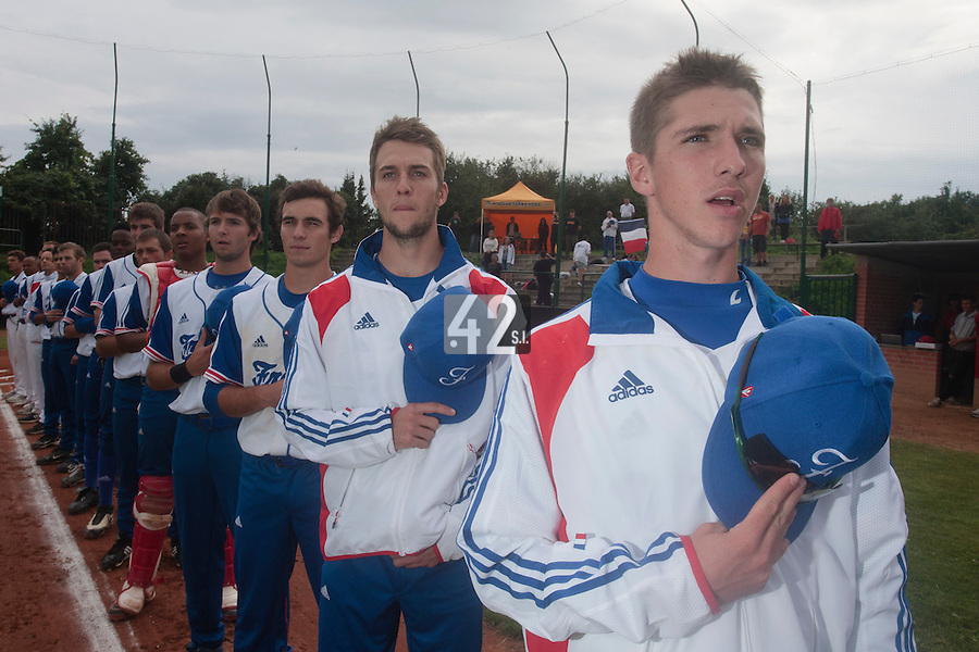 18 August 2010: Steven Vesque of Team France is seen during the National Anthem prior to the France 7-3 win over Ukraine, at the 2010 European Championship, under 21, in Brno, Czech Republic.