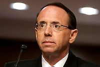 """former United States Deputy Attorney General Rod Rosenstein is seen during a Senate Judiciary Committee hearing to discuss the FBI's """"Crossfire Hurricane"""" investigation on Wednesday, June 3, 2020.<br /> Credit: Greg Nash / Pool via CNP/AdMedia"""