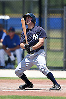 GCL Yankees 2 outfielder Adam Kirsch (46) hits a grand slam home run for his first professional hit during a game against the GCL Blue Jays on July 2, 2014 at the Bobby Mattick Complex in Dunedin, Florida.  GCL Yankees 2 defeated GCL Blue Jays 9-6.  (Mike Janes/Four Seam Images)