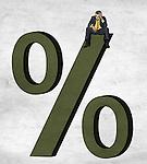 Illustrative image of businessman sitting on percentage sign representing debt