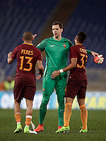 Calcio, Serie A: Roma, Stadio Olimpico, 7 febbraio 2017.<br /> Roma's Bruno Peres (l) Wojciech Szczesny (c) Emerson Palmieri (d) celebrate after winning the Italian Serie A football match between AS Roma and Fiorentina at Roma's Olympic Stadium, on February 7, 2017.<br /> UPDATE IMAGES PRESS/Isabella Bonotto