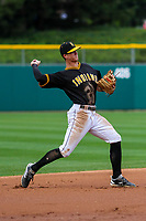 Indianapolis Indians shortstop Kevin Newman (3) throws to first base during an International League game against the Buffalo Bisons on July 28, 2018 at Victory Field in Indianapolis, Indiana. Indianapolis defeated Buffalo 6-4. (Brad Krause/Four Seam Images)