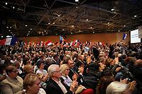 Meeting de FranÁois Fillon ‡ Lyon Eurexpo, France, 12 avril 2017. 10000 participants selon les organisateurs.