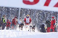 Sunday February 27, 2010   Jeremiah Klejka leaves the start line of the Junior Iditarod at Willow Lake , Alaska