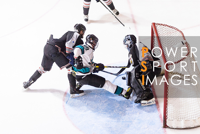 Drew Barton of Cathay Flyers (C) battle in the goal mouth with Jimmy Bjennmyr of Nordic Vikings Goalie (R) during the Mega Ice Hockey 5s International Elite Final match between Nordic Vikings and Cathay Flyers on May 05, 2018 in Hong Kong, Hong Kong. Photo by Marcio Rodrigo Machado / Power Sport Images