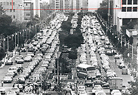 1978<br />  FILE PHOTO - ARCHIVES -<br /> <br /> This should be a bad memory after today; but the transit strike - scheduled to end by 6 a.m. tomorrow - only proves that downtown traffic conditions can be worse than we could imagine. This scene; looking south from Queen's Park along University Ave. during afternoon rush-hour yesterday; must have partly inspired the Legislature to push through back-to-work orders for 7;200 striking TTC workers. Union officials said union had no intention of defying law.<br /> <br /> Bezant, Graham<br /> Picture, 1978<br /> <br /> 1978<br /> <br /> PHOTO : Graham Bezant - Toronto Star Archives - AQP