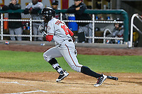 Taylor Trammell (18) of the Billings Mustangs follows through on his swing against the Orem Owlz in Game 2 of the Pioneer League Championship at Home of the Owlz on September 16, 2016 in Orem, Utah. Orem defeated Billings 3-2 and are the 2016 Pioneer League Champions. (Stephen Smith/Four Seam Images)