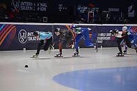SPEEDSKATING: DORDRECHT: 05-03-2021, ISU World Short Track Speedskating Championships, QF 1500m Ladies, Hanne Desmet (BEL), Florence Brunelle (CAN), Cynthia Mascitto (ITA), Nicole Mazur (POL), ©photo Martin de Jong