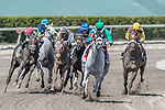 HALLANDALE BEACH, FL - MAR 31:Conquest Big E #1 trained by Donna Green Hurtak with Jose Batista in the irons takes the lead at the final turn on the way to winning The Gulfstream Park Hardacre Mile Stakes (G2) at Gulfstream Park on March 31, 2018 in Hallandale Beach, Florida. (Photo by Bob Aaron/Eclipse Sportswire/Getty Images)