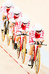 The team of Poland with Daria Pikulik, Natalia Rutkowska, Justyna Kaczkowska and Nikola Rozynska competes in the Women's Team Pursuit - 1st Round as part of the 2017 UCI Track Cycling World Championships on 13 April 2017, in Hong Kong Velodrome, Hong Kong, China. Photo by Marcio Rodrigo Machado / Power Sport Images