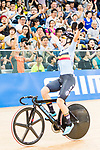 Lotte Kopecky and Jollen D'Hoore of Belgium celebrate winning in the Riders compete on the Women's Madison 30km Final during the 2017 UCI Track Cycling World Championships on 15 April 2017, in Hong Kong Velodrome, Hong Kong, China. Photo by Marcio Rodrigo Machado / Power Sport Images