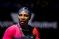 11th February 2021, Melbourne, Victoria, Australia; Serena Williams of the United States of America in action during round 3 of the 2021 Australian Open on February 12 2020, at Melbourne Park in Melbourne, Australia.
