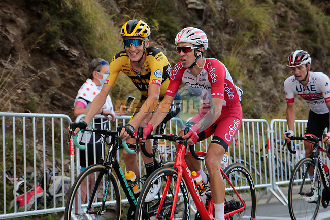Robert Gesink (NED) Team Jumbo-Visma and Nicolas Edet (FAR) Cofidis summit the Col de Peyresourde during Stage 8 of Tour de France 2020, running 141km from Cazeres-sur-Garonne to Loudenvielle, France. 5th September 2020. <br /> Picture: Colin Flockton | Cyclefile<br /> All photos usage must carry mandatory copyright credit (© Cyclefile | Colin Flockton)