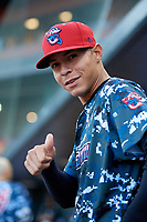 Jacksonville Jumbo Shrimp relief pitcher Jorgan Cavanerio (18) poses for a photo during a game against the Mobile BayBears on April 14, 2018 at Baseball Grounds of Jacksonville in Jacksonville, Florida.  Mobile defeated Jacksonville 13-3.  (Mike Janes/Four Seam Images)