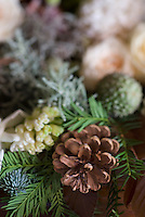 Detail of a pine cone and spruce used as Christmas decorations
