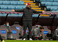 4th October 2020, Villa Park, Birmingham, England;  Liverpools manager Jurgen Klopp reacts to poor defensive play during the English Premier League match between Aston Villa and Liverpool at Villa Park
