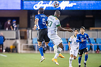 SAN JOSE, CA - MAY 15: Eric Remedi #5 of the San Jose Earthquakes and Dairon Asprilla #27 of the Portland Timbers compete for a header during a game between San Jose Earthquakes and Portland Timbers at PayPal Park on May 15, 2021 in San Jose, California.