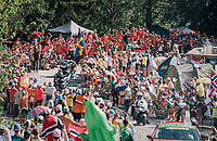 """race leader Steven Kruijswijk (NED/LottoNL-Jumbo) coming through """"Dutch Corner"""" (#7) on Alpe d'Huez<br /> Stage 12: Bourg-Saint-Maurice / Les Arcs > Alpe d'Huez (175km)<br /> <br /> 105th Tour de France 2018<br /> ©kramon"""