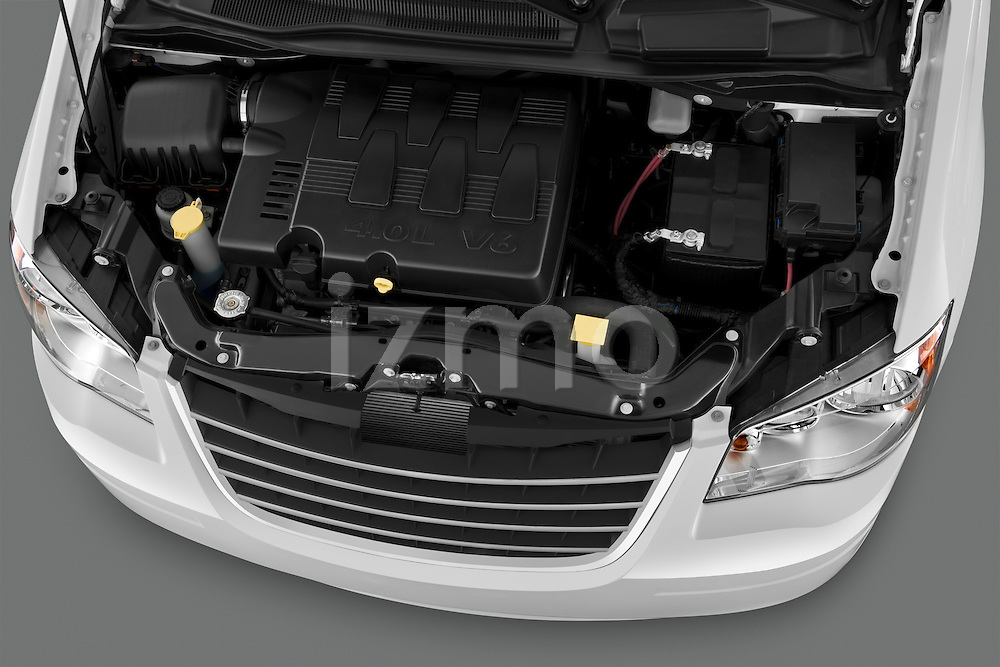 High angle engine detail of a 2010 Chrysler Town and Country Touring .