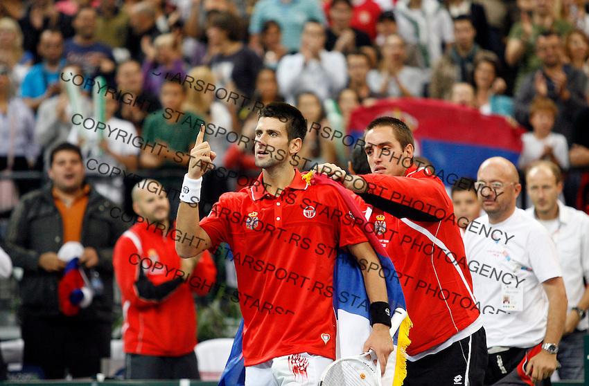 Tenis, Davis Cup 2010.Serbia Vs. Czech Republic, semifinals.Novak Djokovic Vs. Tomas Berdych.Novak Djokovic, celebrate win.Beograd, 19.09.2010..foto: Srdjan Stevanovic/Starsportphoto ©