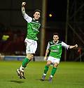 HIBERNIAN'S MATTHEW DOHERTY CELEBRATES AFTER HE SCORES HIBS SECOND