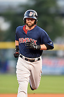 Pawtucket Red Sox outfielder Bryce Brentz (25) runs the bases after hitting a home run during a game against the Buffalo Bisons on August 26, 2014 at Coca-Cola Field in Buffalo, New  York.  Pawtucket defeated Buffalo 9-3.  (Mike Janes/Four Seam Images)