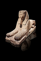 Ancient Egyptian Sphinx statue, sandstone, New Kingdom, early 19th Dynasty (1292-1250), Karnak, Temple of Amon. Egyptian Museum, Turin. black background<br /> <br /> The Phatoah and queen could be represented by Sphinx statues and by associating human faces with the body of a lion the Egyptians combined the strength of the animal that was connected to the sun god with human inetelligence. In this guardian rols sphinxes were generally placed facing each other on either side of temple gates, processional ways or dooways inside the temple. . Drovetti Collection. C1408