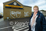 Christina Tansley pictured outside her home in Rock Street which was vandalised with graffiti on Tuesday night.