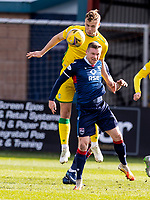 13th March 2021; Global Energy Stadium, Dingwall, Highland, Scotland; Scottish Premiership Football, Ross County versus Hibernian; Ryan Porteous of Hibernian wins header over Billy McKay of Ross County