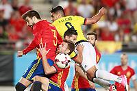 Spain's Gerard Pique (l) and Asier Illarramendi (c-l) and Colombia's James Rodriguez (c-r) and Radamel Falcao during international friendly match. June 7,2017.(ALTERPHOTOS/Acero) (NortePhoto.com) (NortePhoto.com)