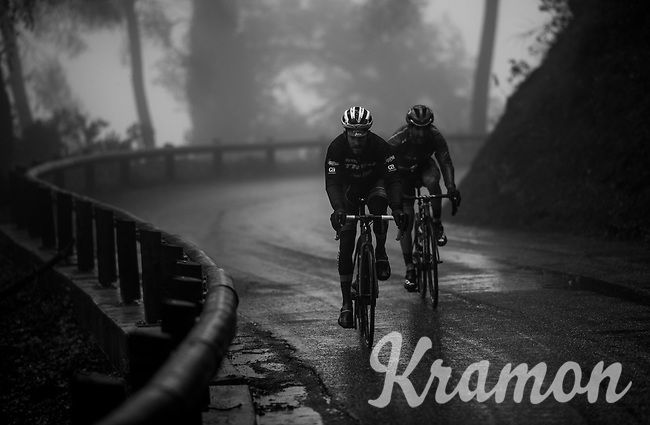Julien Bernard (FRA/Trek-Segafredo) & Tiago Machado (POR/Katusha-Alpecin) moving together through the torrential rains<br /> <br /> 76th Paris-Nice 2018<br /> Stage 8: Nice > Nice (110km)