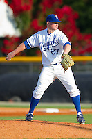 Starting pitcher Gates Dooley #27 of the Burlington Royals in action against the Princeton Rays at Burlington Athletic Stadium July 11, 2010, in Burlington, North Carolina.  Photo by Brian Westerholt / Four Seam Images