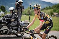 Sepp Kuss (USA/Jumbo-Visma) up the Col de Joux Plane (HC/1691m/11.6 km@8.5 %)<br /> <br /> 73rd Critérium du Dauphiné 2021 (2.UWT)<br /> Stage 8 (Final) from La Léchère-Les-Bains to Les Gets (147km)<br /> <br /> ©kramon
