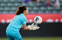 CARSON, CA - FEBRUARY 07: Noelia Bermudez #1 of Costa Rica catches a ball during a game between Canada and Costa Rica at Dignity Health Sports Park on February 07, 2020 in Carson, California.