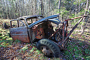 Abandoned 1950s Chevy in forest near Elbow Pond in Woodstock, New Hampshire USA