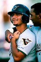 Eric Chavez of the Visalia Oaks during a game at Arrowhead Credit Union Park in San Bernardino, California during 1997 spring training.(Larry Goren/Four Seam Images)
