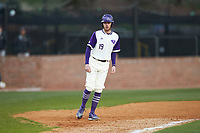 Nick Niarchos (19) of the High Point Panthers takes his lead off of third base against the Campbell Camels at Williard Stadium on March 16, 2019 in  Winston-Salem, North Carolina. The Camels defeated the Panthers 13-8. (Brian Westerholt/Four Seam Images)