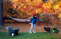 Woman cutting the lawn in autumn.