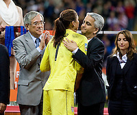 Hope Solo, Sunil Gulati.  Japan won the FIFA Women's World Cup on penalty kicks after tying the United States, 2-2, in extra time at FIFA Women's World Cup Stadium in Frankfurt Germany.